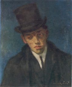 Portrait of Odon Marffy, 1907 by Gulacsy Lajos (Hungarian Márffy was a Hungarian painter, one of The Eight in Budapest, credited with bringing cubism, Fauvism and expressionism to the country. Fauvism, Budapest, Gallery, Expressionism, Hungary, Painters, Portraits, Hat, Artists