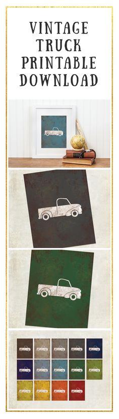 Vintage Car Print - A vintage truck for the Big Boy car room or the car or transportation nursery. Vintage Truck Nursery, Vintage Car Bedroom, Big Boy Bedrooms, Baby Boy Rooms, Nursery Boy, Boy Car Room, Transportation Nursery, Truck Bed, Truck Room