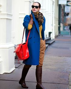 royal blue coat with red bag and camel 2017 outfit