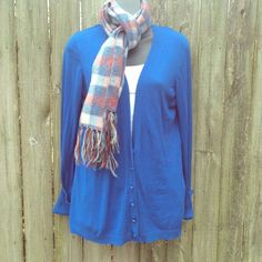Express blue button up cardigan Great condition! No holes or stains! Buttons are a little loose but aren't falling off. Sleeves can be cuffed or left long. Great with boots and a scarf! 80% rayon 17% nylon 3% spandex Express Tops Button Down Shirts