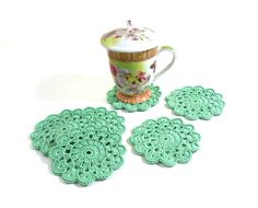 Crochet Coasters  Table Decor Set of 6 Green Cotton by Smalkumi