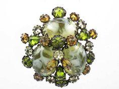 Green & Amber Rhinestone Schreiner Art Glass Brooch | eBay