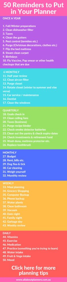 50 Reminders to Put in Your Planner or Bullet Journal 50 reminders to put in your planner weekly daily monthly quarterly 6 monthly annual tips inspiration ideas how to use best
