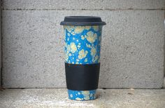 ceramic coffee travel mug in cloudy blue reusable by 2ndstop