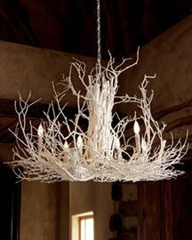 twig chandelier, definitely easier than the antler one. I'm going to try to make one of these.
