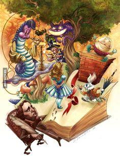 Alice in wonderland fell down the rabbit hole, then looked through the look Lewis Carroll, Alice In Wonderland Theme, Adventures In Wonderland, Arte Disney, Disney Art, Illustrations, Illustration Art, Arte Dark Souls, Chesire Cat