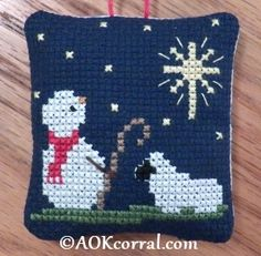 Cross Stitch Christmas Star Snowman