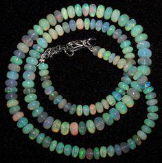 """52.80 Ct Rainbow Multi Fire Color Ethiopian Opal Rondelle 4-5.8 MM Necklace 16 """""""