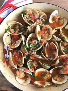 Clams With Spicy Sausage in Garlicky Tomato Broth
