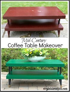 A mid-century coffee table gets a new look with Velvet Finishes paint and a touch of Rub 'n Buff on the feet.  virginiasweetpea.com
