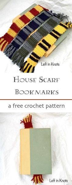 A free crochet pattern! Make this Harry Potter inspired House Scarf Bookmark in any or all of your favorite house colors. A perfect pattern for beginners!