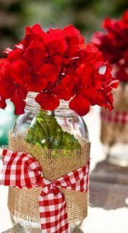 Red flowers + burlap