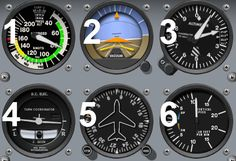 """The """"six pack"""" in a Cessna 172: the airspeed indicator (ASI), the attitude indicator (AI) the altimeter (ALT), the turn coordinator (TC) the directional gyro (DG) and the vertical speed indicator (VSI)."""