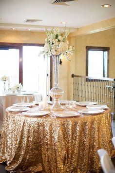 120' Round Gold Sequin Tablecloth Other Sizes Available Bling Glam Sparkle Wedding Clearance