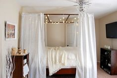 bedroom: cozy bedroom i so want to make our bed a 4 poster bed diy style im in love with them
