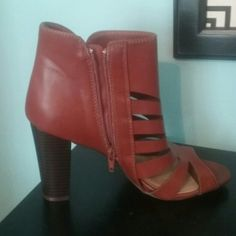 Cognac cutout booties New in box! Cognac colored cutout booties with side zip and heel. So chic. Look great in cold weather with tights. Shoes