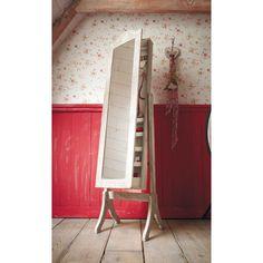 Specchio inclinabile portagioie in legno di paulonia sbiancato H 160 cm CAMILLE