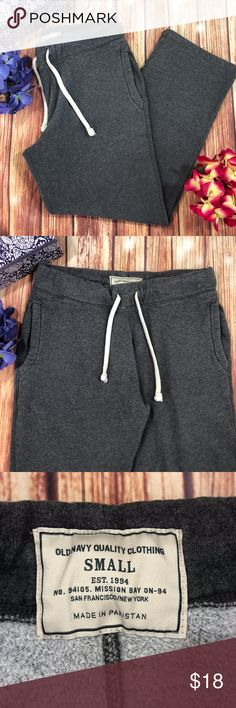 "Old Navy Sweat Pants Gray drawstring Comfort Please see photos for exact condition SHIPS FAST Feel free to ask questions Measurements are approximate Please compare measurements to your own favorite clothing to help avoid having a return  waist 32"" Rise 12"" Inseam 28""  Thank you! Old Navy Pants"