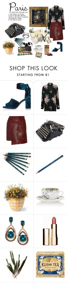 """Paris Fall painting"" by brianagutierrez66 ❤ liked on Polyvore featuring River Island, N°21, Isabel Marant, Moleskine, Grandin Road, Hermès, LE VIAN, Clarins, Kusmi Tea and Choi Time"