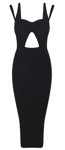 sexy, unique design, sexy bust line, body-con fit, length below knee, back zipper, two strap dress Material- 90% rayon /9% nylon/ 1% spandex Color - Black Size - X-Small, Small, Medium, Large (email u