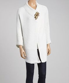 Look at this #zulilyfind! Earth Song White Single-Button Cardigan by Earth Song #zulilyfinds