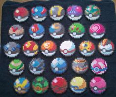 Our perler version of all 26 pokeballs.