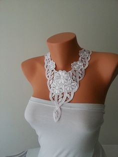 FREE SHIPPING Wedding White Laced Necklace  by ArtofAccessory,#handmade #wedding #bride  #accessories #weddingideas
