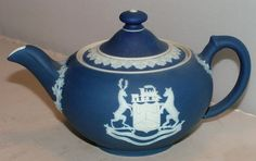 Rare Wedgwood 'Labore London Canada' Dark Blue Jasperware Tea for Two Teapot #Wedgwood