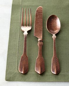 Pounded copper flatware