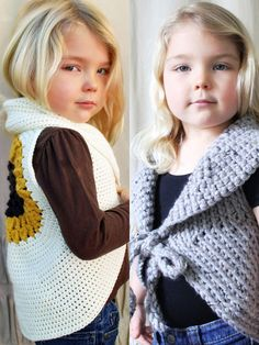"2 easy vests to crochet for mommy and daughter.   The Tonie Sweater is made using super-chunky yarn, making it quick to work up. It uses sc and is the perfect layering piece for any season. Sizes are written for Toddler (9"" across the back), ack) and Adult M (17"" across the back)."