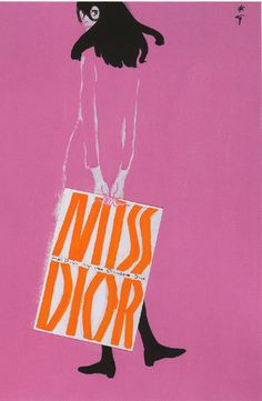 By René Gruau,1967, Illustration for advertisement for Dior Perfume.  ~~most fashionable in HS~~