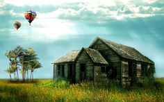Old house and balloons on the field waiting for you. ... .