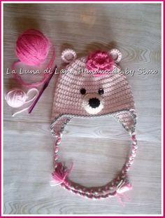 Cappellino bambina orsetto rosa all'uncinetto , by La Luna di Lana - Handmade by Simo, 18,00 € su misshobby.com
