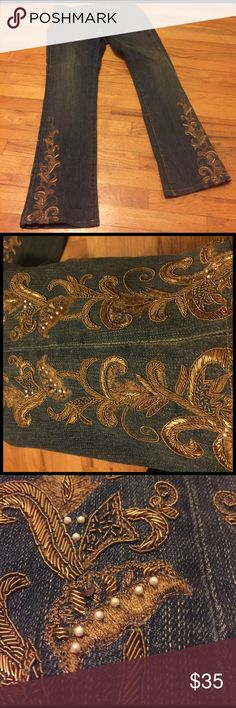 """Ralph Lauren Black Label vintage embellished boot Ralph Lauren black label jeans originally 33: now 30 X 30.75"""" , 9"""" rise very good alterations job as the seam is neatly tucked under belt loop. 98% very soft cotton 2% elastane for perfect fit Ralph Lauren Black Label Jeans Boot Cut"""