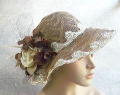 Victorian Tea Party Hats   Wide Brim Brown Hat, Kentucky Derby Hat, Garden Party Hat or Victorian ...