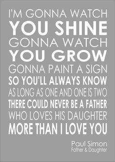 Paul Simon - Father And Daughter - Lyrics Wedding Song Word Wall Art Typography