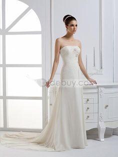 8e976d8de03ab A-ラインストラップレスロングフロアチャペルトレーンウェディングドレス Empire Bridesmaid Dresses
