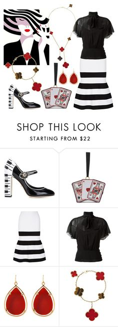 """""""Porker face"""" by ellenfischerbeauty ❤ liked on Polyvore featuring Dolce&Gabbana, Olympia Le-Tan, Victoria Beckham, RED Valentino, Barse, Van Cleef & Arpels, black, victoriabeckham and waystowear"""
