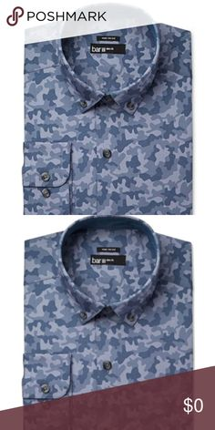Bar III-Blue Indigo Camoflauge Slim Fit Shirt $65 Manufacturer: Bar III Size: Various  Size Origin: US Manufacturer Color: Blue Indigo  Retail: $65.00 Condition: New With Tags Style Type: Dress Shirt Collection: Bar III Sleeve Length: Long Sleeve Collar: Button-Down Collar Material: 100% Cotton Fabric Type: Cotton Specialty: Camouflage A slim fit is cut closer through the chest, sleeves and waist  Features slim armholes and sleeves Bar III Shirts Dress Shirts