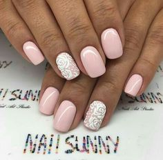 •M e E n c a n t a• Sns Nails, Cute Nails, Pretty Nails, Acrylic Nails, Nail Candy, Crazy Nails, Neutral Nails, Pastel Nails, Cute Nail Designs