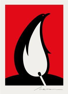 Noma Bar Penguin vs Flame