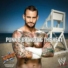 CM Punk will bring the heat to Brock Lesnar this Sunday at Summerslam. Bring The Heat, Bring It On, Catch, Wwe Tna, Wwe World, Wwe Champions, I Like Him, Cm Punk, Brock Lesnar