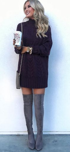 #winter #outfits black sweatshirt and gray suede knee high boots
