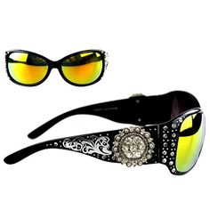 8af9fb2bc70c Montana West Ladies Sunglasses Rhinestones Floral Concho UV 400 Black Frame  Color Lens >>> More info could be found at the image url.