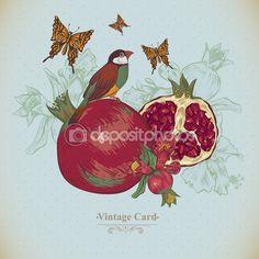 Старинные открытки тропические фрукты, цветы, бабочки и птицы — стоковая иллюстрация #73057083