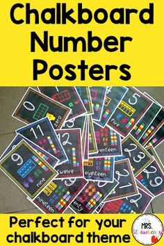 Use these Chalkboard Number Posters to help your primary students master their numbers. Each poster includes the digit, word and the number representation in ten frames, finger counting, tallies, and unifix cubes. Numbers 1-6 are also shown through dice. Two print options available. Great for preschool, Kindergarten, 1st, 2nd, 3rd, and 4th grade classroom or homeschool students. {elementary, math, digits, preK, K, first, second, third, fourth graders} Chalkboard Numbers, Number Recognition Activities, Number Posters, Number Identification, 4th Grade Classroom, Primary Resources, Phonics Activities, Australian Curriculum, Ten Frames