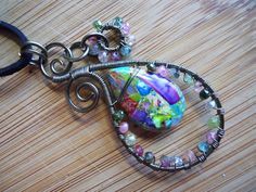 Paisley Pendant Colorful Variscite Drop and Multi by OurFrontYard, $31.77