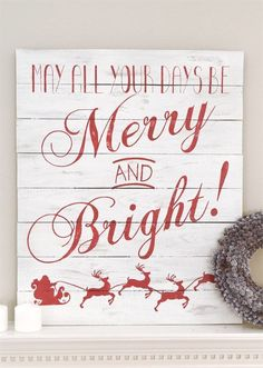 DIY vintage sign for Christmas mantle decoration. Using a stencil to make a Merry and Bright Christmas Sign. Pallet Christmas, Christmas Signs, Christmas Projects, Holiday Crafts, Christmas Ideas, Christmas Mantles, Christmas Villages, Homemade Christmas, Christmas Ornaments