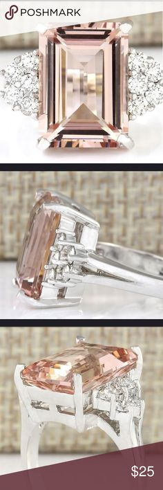 Natural Morganite & Sterling Silver Ring 3.84 ct 6 Natural Morganite & Sterling Silver Ring  3.84 Ct Size 6 Jewelry Rings