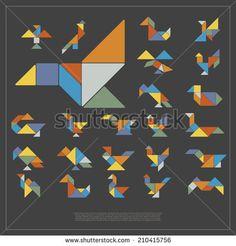 set of tangram birds vector illustration